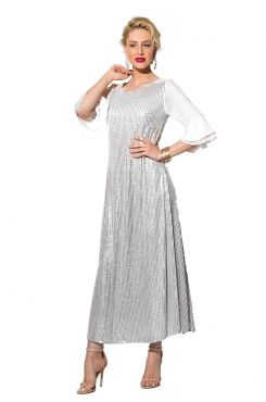 WHITE SEQUIN DRESS WITH SLEEVE RUFFLES  | DRESSES