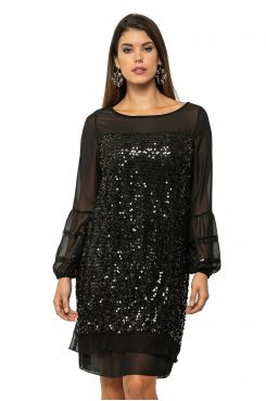 DRESS WITH SEQUIN AND MUSLIN    DRESSES