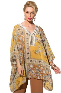 PATTERNED BLOUSE WITH MOTIF  | CAFTANS
