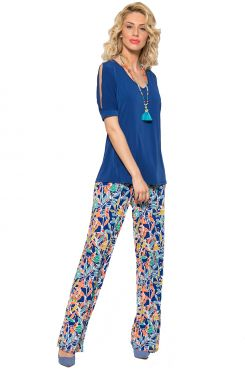 BLUE PATTERNED WIDE LEG PANTS    TROUSERS/SKIRTS