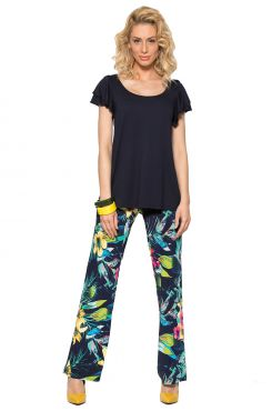 PATTERNED PANTS WITH ELASTIC WAIST BAND    TROUSERS/SKIRTS