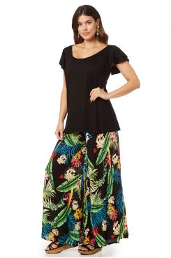PATTERNED ZIP CULOTTE  WITH GREEN DETAILS    TROUSERS/SKIRTS