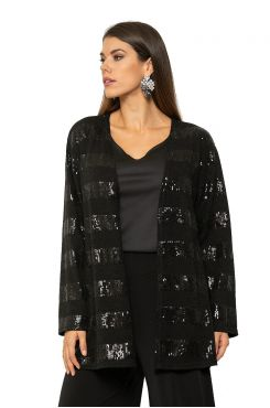 CARDIGAN WITH STRIPED SEQUIN    JACKETS/OUTERWEAR