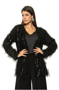 SEQUINED CARDIGAN MOHAIR TYPE    JACKETS/OUTERWEAR