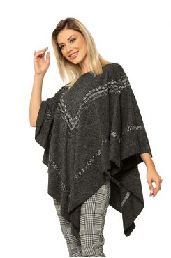 PONCHO WITH PATTERNED KNIT    JACKETS/OUTERWEAR