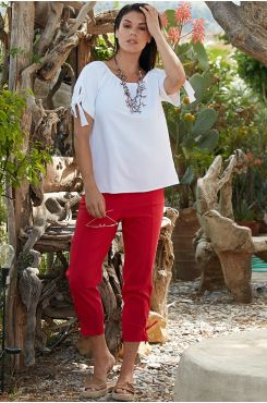 CAPRI PANTS WITH TYING    TROUSERS/SKIRTS