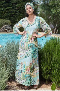 MINT MAXI PATTERNED DRESS    DRESSES