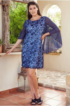 DRESS WITH SEQUIN AND MUSLIN  | DRESSES