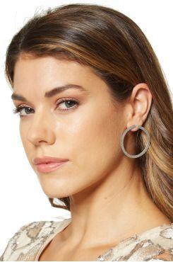 SILVER HOOP EARRINGS WITH GLITTER    EARINGS
