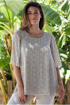 MUSLIN BLOUSE WITH GEOMETRIC DESIGNS  | BLOUSES