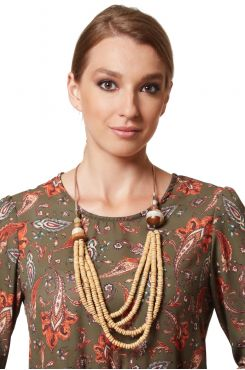 WOODEN BAMBOO NECKLACE    NECKLACES