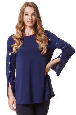 BLUE BLOUSE WITH DECORATIVE BUTTONS  | BLOUSES/SHIRTS