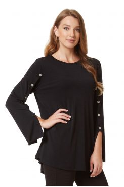 BLACK BLOUSE WITH DECORATIVE BUTTONS  | BLOUSES/SHIRTS