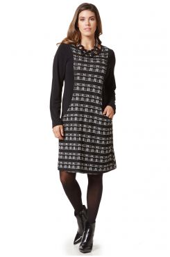 KNIT DRESS WITH GEOMETRIC DESIGNS WITH POCKETS  | DRESSES