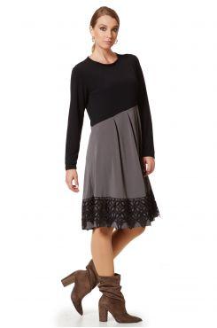 DOUBLE COLOR DRESS WITH LACE  | DRESSES