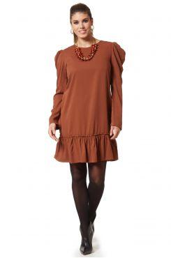 CHOCO DRESS WITH RUFFLES  | DRESSES
