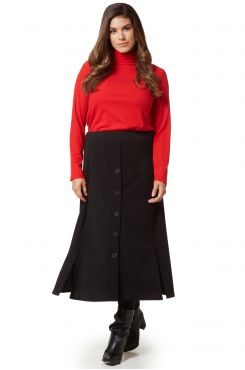 BLACK CLOCHE SKIRT WITH SLITS AND BUTTONS  | PANTS/SKIRTS