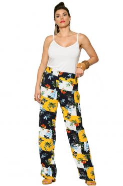 PATTERNED WIDE LEG PANTS    TROUSERS/SKIRTS