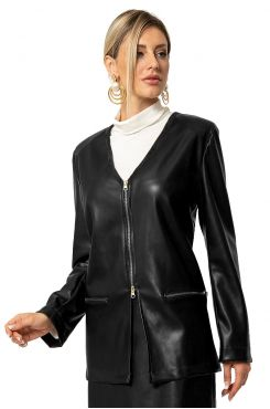 BLACK LEATHER JACKET WITH ZIPPER    JACKETS/OUTERWEAR