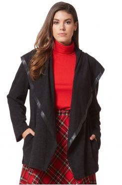 BLACK KNIT CARDIGAN WITH LEATHER  | JACKETS/OUTERWEAR