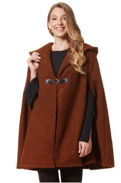 BROWN CURL STYLE CARDIGAN WITH CLASP    JACKETS/OUTERWEAR