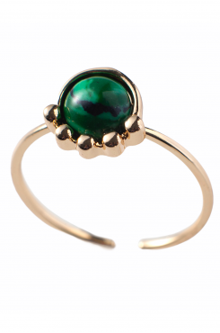 RING IN GOLD COLOR WITH GREEN STONE    RINGS
