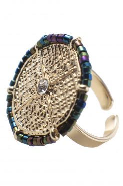RING WITH SMALL COLORFUL BEADS    RINGS