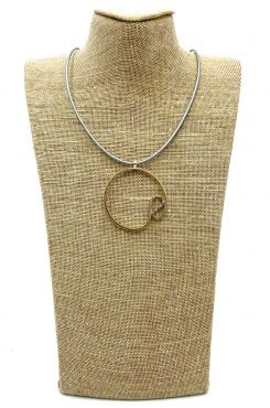 PENDANT NECLACE ON BROWN LEATHER AND DESIGN IN PINK GOLD COLOR    NECKLACES