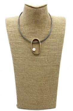 GREY PENDANT NECKLACE WITH MANY LAYERS OF WIRE AND A HOOP WITH RHINSTONES    NECKLACES
