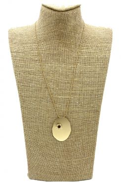 LONG PENDANT NECKLACE IN GOLD COLOR WITH A HOLE    NECKLACES