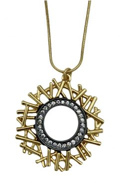 GOLD NECKLACE WITH A HANGING ROUND PENDANT    NECKLACES