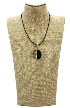 PENDANT NECKLACE ON BLACK LEATHER AND GOLD/BLACK DESIGN    NECKLACES