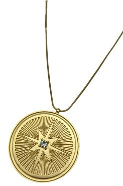 LONG PENDANT NECKLACE IN GOLD COLOR WITH RHINESTONES    NECKLACES