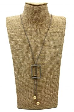 LONG NECKLACE ON BROWN LEATHER AND SQUARE DESIGN    NECKLACES