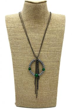 LONG NECKLACE WITH GREEN BEADED CIRCLE DESIGN    NECKLACES