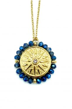 PENDANT NECKLACE ON A GOLD CHAIN WITH BLUE BEADS    NECKLACES
