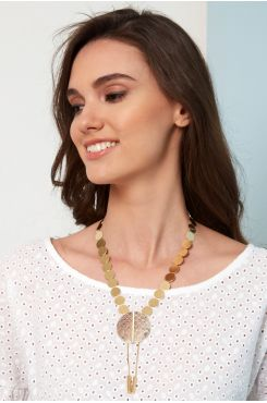 HANDMADE NECKLACE WITH GOLDEN SHADE SMALL CIRCLES AND SNAKE SKIN DESIGN    NECKLACES