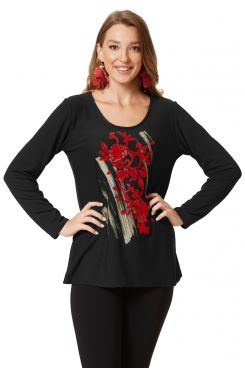 BLACK KNIT BLOUSE WITH RED PRINT DESIGN  | BLOUSES/SHIRTS