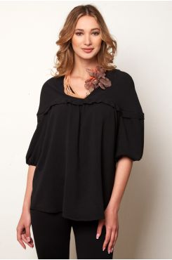 BLACK BLOUSE WITH RUFFLES  | BLOUSES/SHIRTS