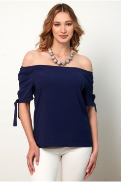 BLUE BLOUSE WITH ELASTIC HEM ON THE SHOULDERS  | BLOUSES/SHIRTS
