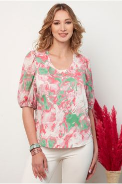 PATTERNED BLOUSE WITH SLEEVE SHIRRED DETAIL  | BLOUSES/SHIRTS