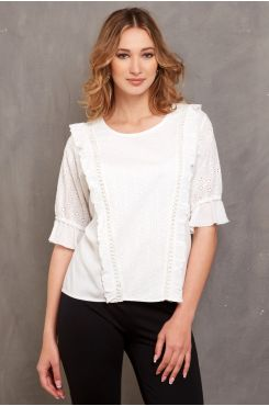 COTTON LACE BLOUSE WITH RUFFLES  | BLOUSES/SHIRTS