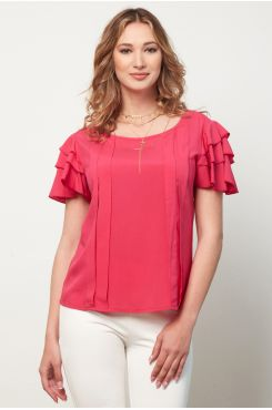 FUCHSIA PLEATED BLOUSE WITH RUFFLES  | BLOUSES/SHIRTS