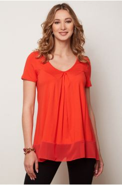 CORAL PLEATED BLOUSE WITH RUFFLES  | BLOUSES/SHIRTS