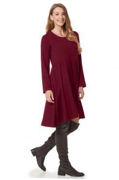 BORDEAUX DRESS WITH SHIRRED DETAILS  | DRESSES