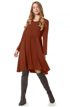 CHOCO DRESS WITH SHIRRED DETAILS  | DRESSES