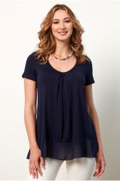 BLUE PLEATED BLOUSE WITH RUFFLES  | BLOUSES/SHIRTS