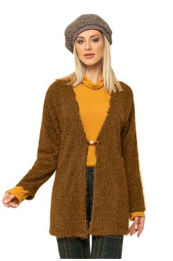 BEIGE TYPE MOHAIR CARDIGAN WITH PIN    JACKETS/OUTERWEAR
