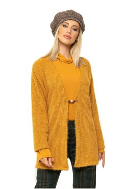 MUSTARD TYPE MOHAIR CARDIGAN WITH PIN    JACKETS/OUTERWEAR