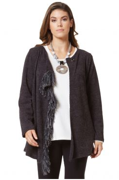 KNIT CARDIGAN WITH FRINGES    JACKETS/OUTERWEAR